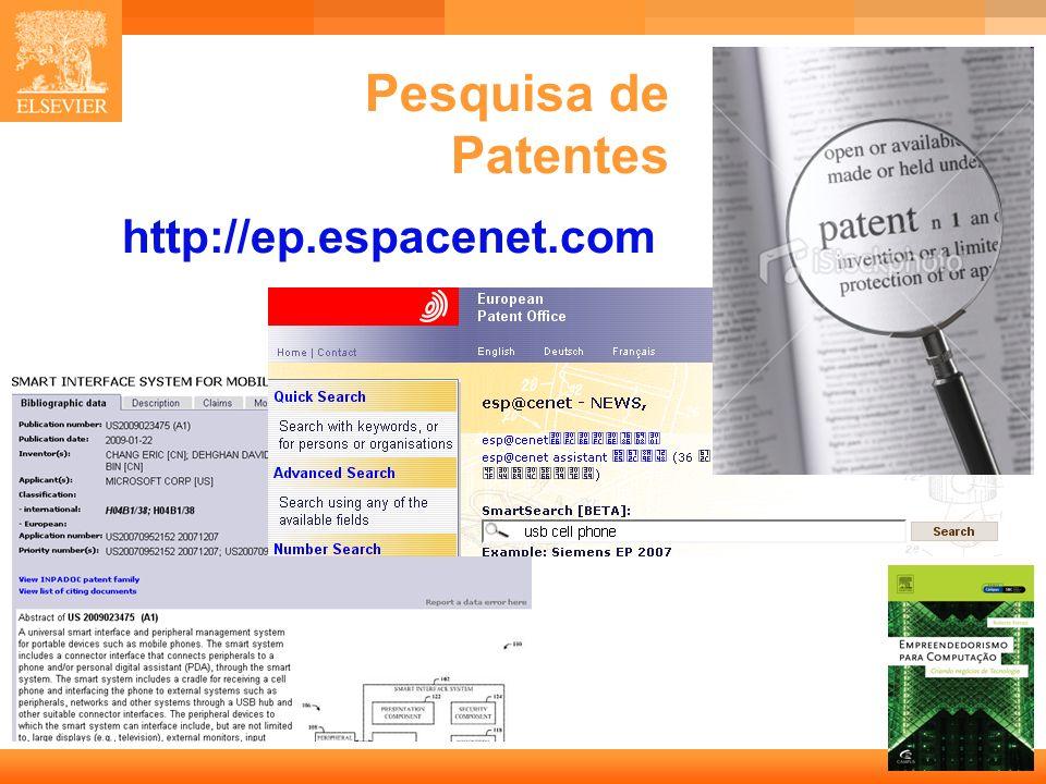 Pesquisa de Patentes http://ep.espacenet.com