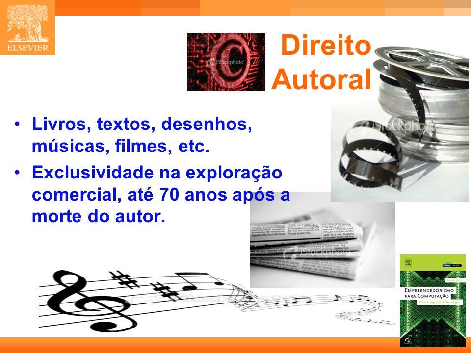 Direito Autoral Livros, textos, desenhos, músicas, filmes, etc.
