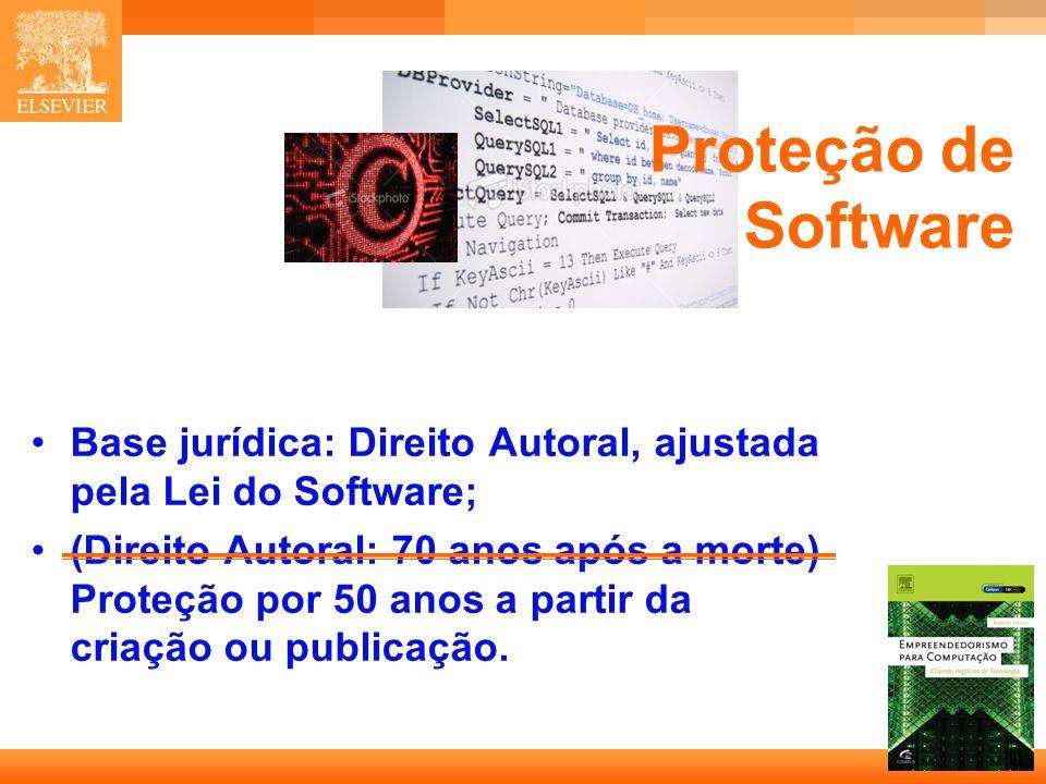 Proteção de Software Base jurídica: Direito Autoral, ajustada pela Lei do Software;