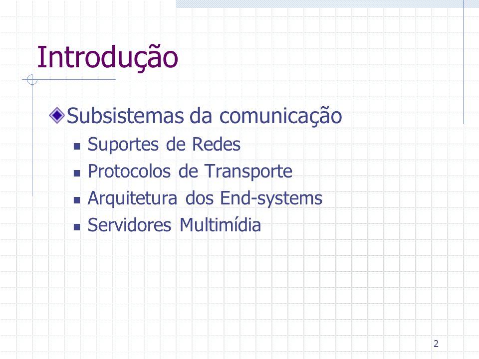 Introdução Subsistemas da comunicação Suportes de Redes