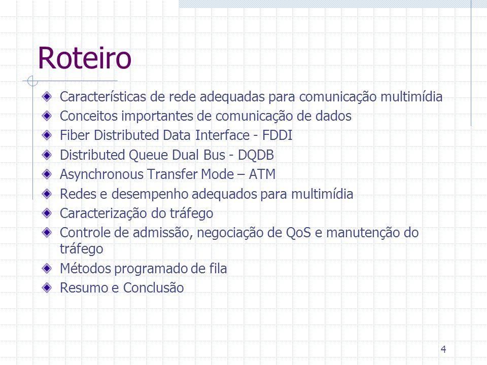 Roteiro Características de rede adequadas para comunicação multimídia