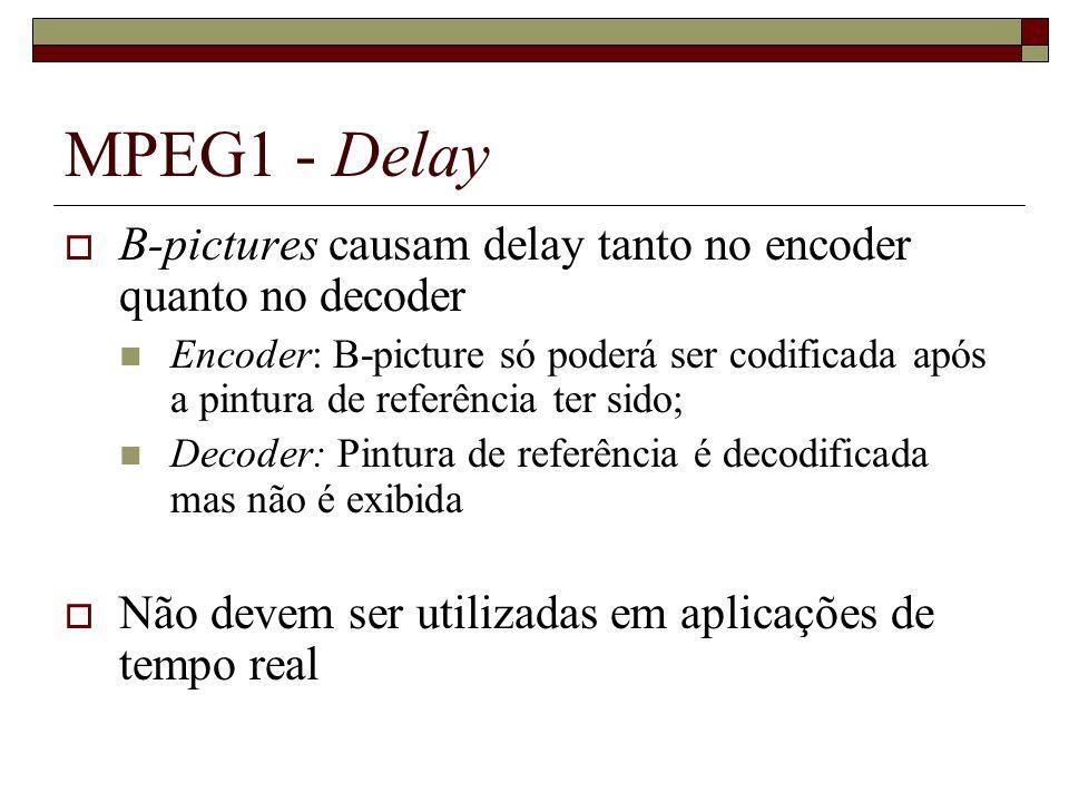 MPEG1 - Delay B-pictures causam delay tanto no encoder quanto no decoder.