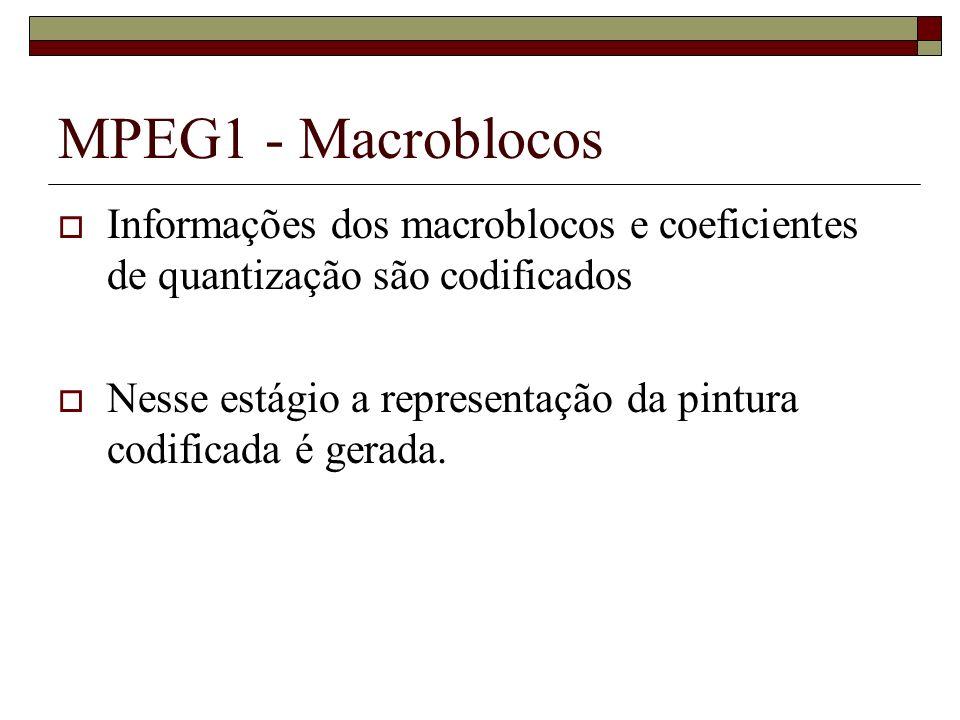 MPEG1 - Macroblocos Informações dos macroblocos e coeficientes de quantização são codificados.