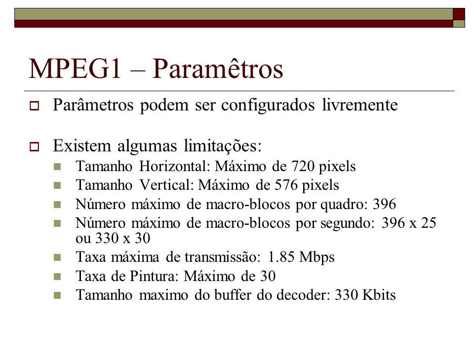 MPEG1 – Paramêtros Parâmetros podem ser configurados livremente
