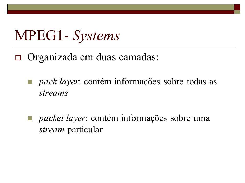 MPEG1- Systems Organizada em duas camadas: