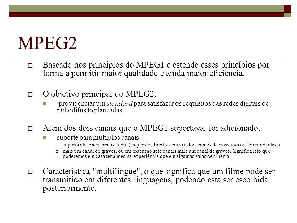 MPEG2 Baseado nos princípios do MPEG1 e estende esses princípios por forma a permitir maior qualidade e ainda maior eficiência.