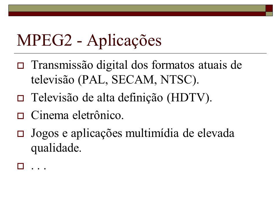 MPEG2 - Aplicações Transmissão digital dos formatos atuais de televisão (PAL, SECAM, NTSC). Televisão de alta definição (HDTV).