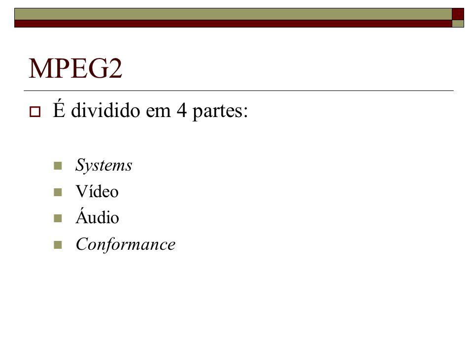 MPEG2 É dividido em 4 partes: Systems Vídeo Áudio Conformance