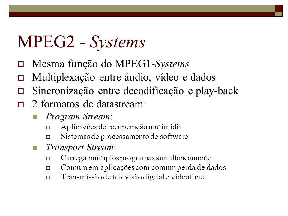 MPEG2 - Systems Mesma função do MPEG1-Systems
