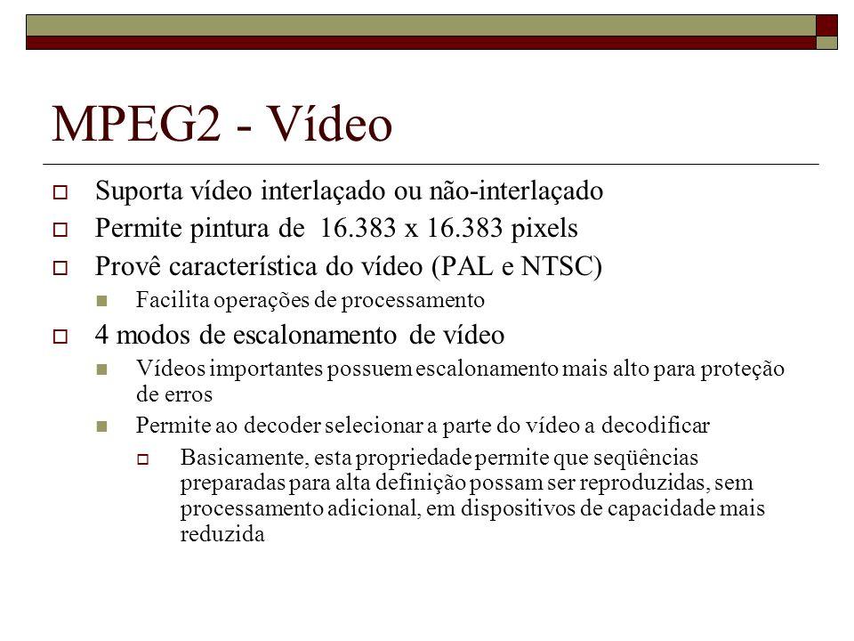 MPEG2 - Vídeo Suporta vídeo interlaçado ou não-interlaçado