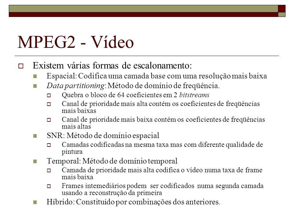 MPEG2 - Vídeo Existem várias formas de escalonamento: