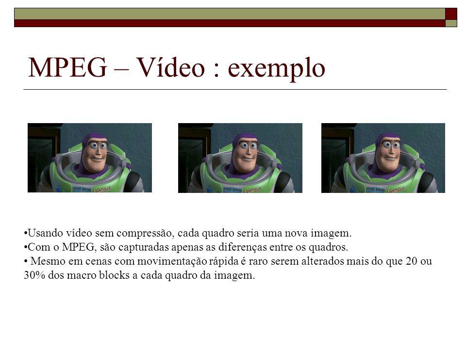 MPEG – Vídeo : exemplo Usando vídeo sem compressão, cada quadro seria uma nova imagem.
