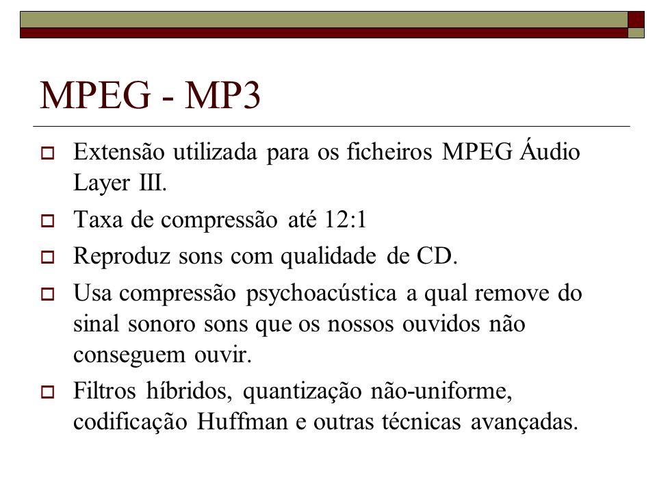 MPEG - MP3 Extensão utilizada para os ficheiros MPEG Áudio Layer III.