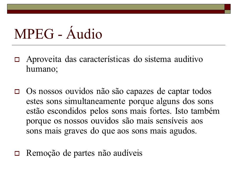 MPEG - Áudio Aproveita das características do sistema auditivo humano;
