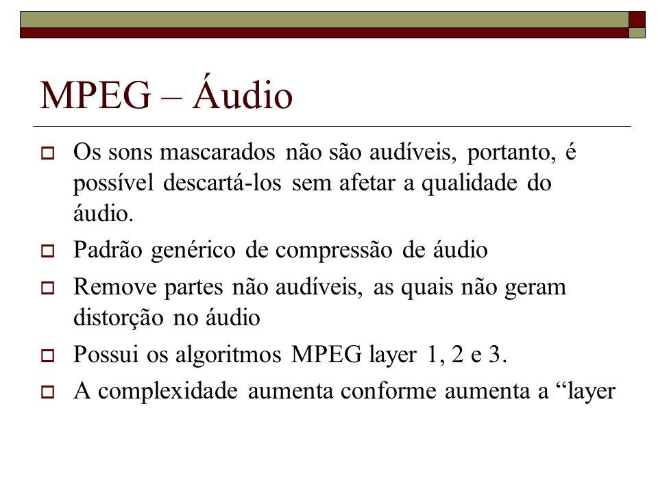 MPEG – Áudio Os sons mascarados não são audíveis, portanto, é possível descartá-los sem afetar a qualidade do áudio.