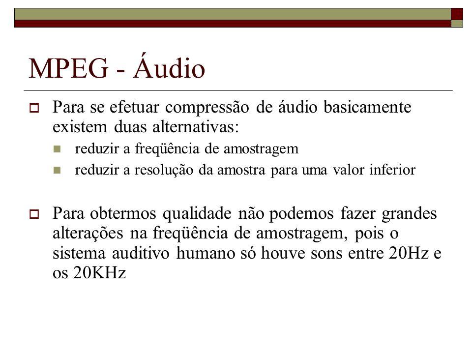 MPEG - Áudio Para se efetuar compressão de áudio basicamente existem duas alternativas: reduzir a freqüência de amostragem.