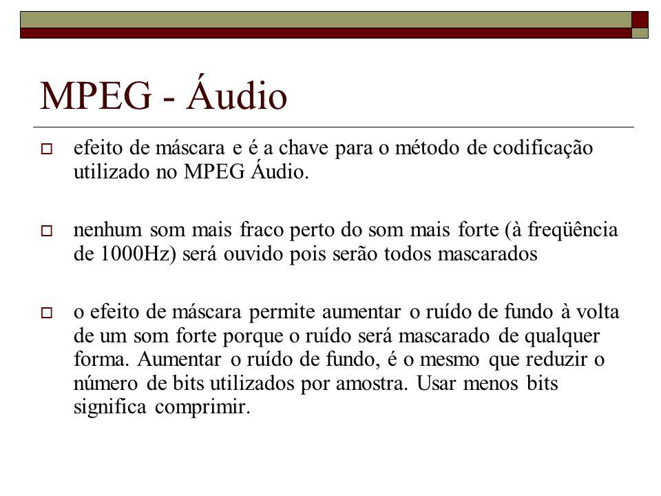 MPEG - Áudio efeito de máscara e é a chave para o método de codificação utilizado no MPEG Áudio.