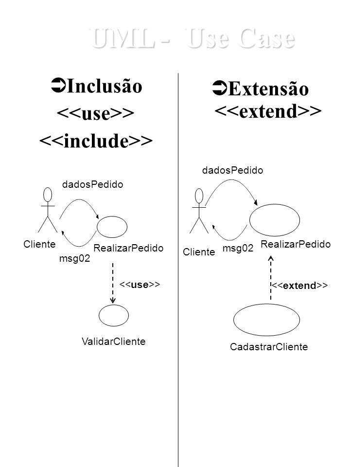 <<include>> Extensão <<extend>>