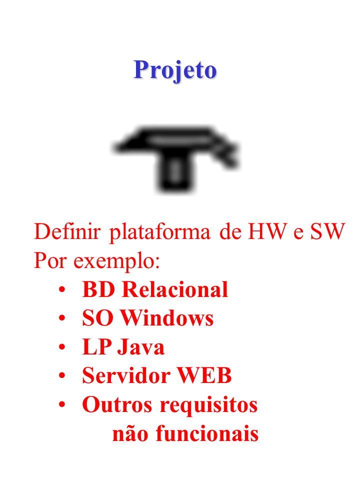 Projeto Definir plataforma de HW e SW Por exemplo: BD Relacional