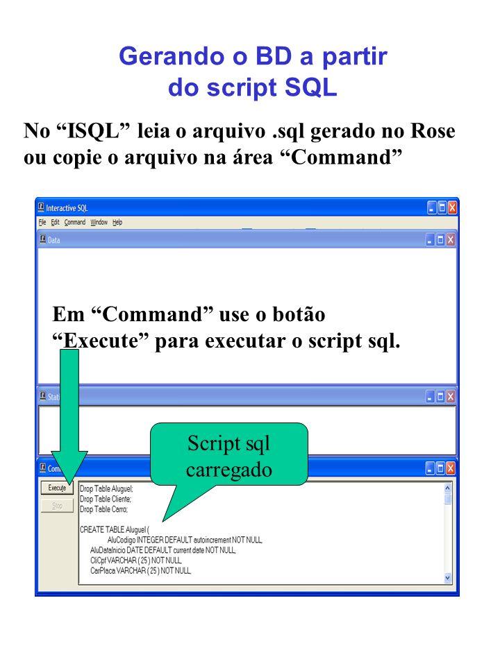 Gerando o BD a partir do script SQL