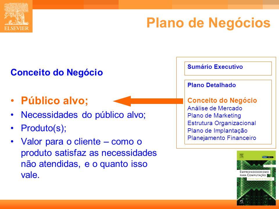 Plano de Negócios Público alvo; Conceito do Negócio