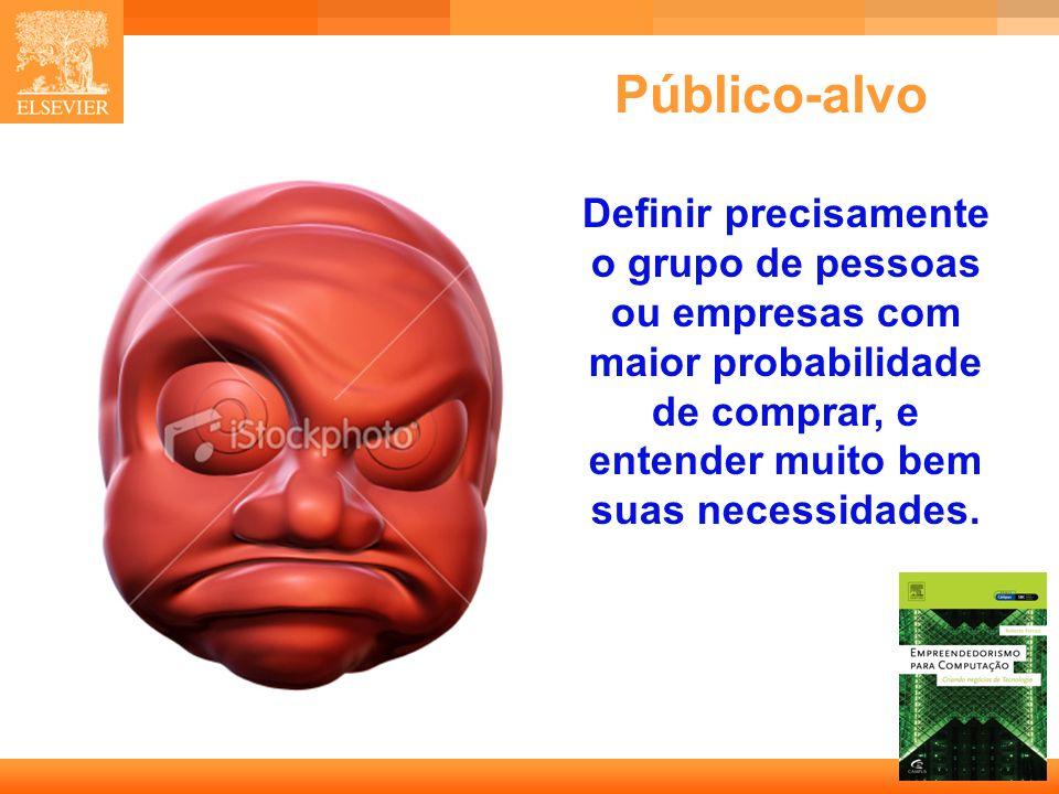 Público-alvo Definir precisamente o grupo de pessoas ou empresas com maior probabilidade de comprar, e entender muito bem suas necessidades.