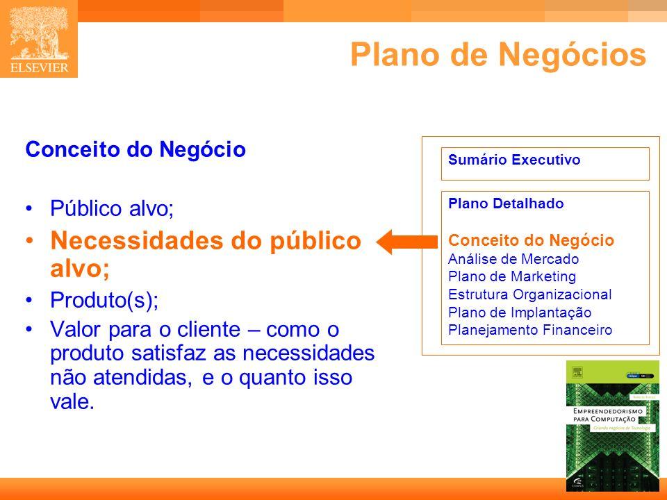 Plano de Negócios Necessidades do público alvo; Conceito do Negócio