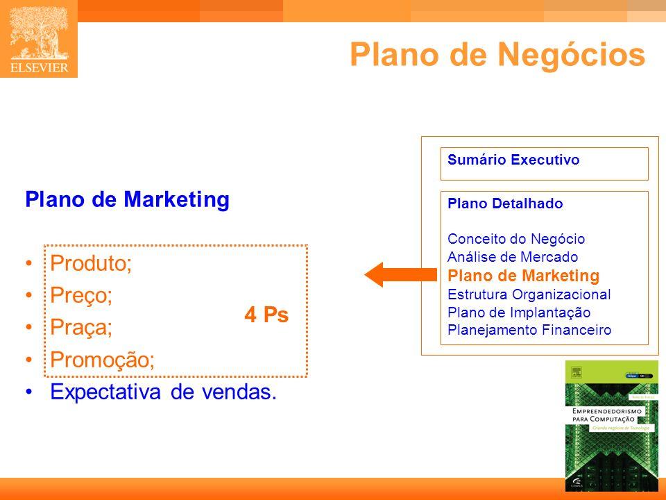 Plano de Negócios Plano de Marketing Produto; Preço; Praça; Promoção;