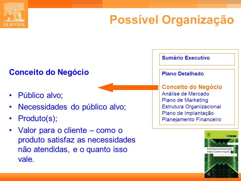 Possível Organização Conceito do Negócio Público alvo;
