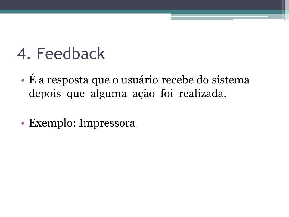 4. Feedback É a resposta que o usuário recebe do sistema depois que alguma ação foi realizada.