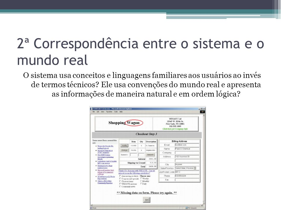 2ª Correspondência entre o sistema e o mundo real