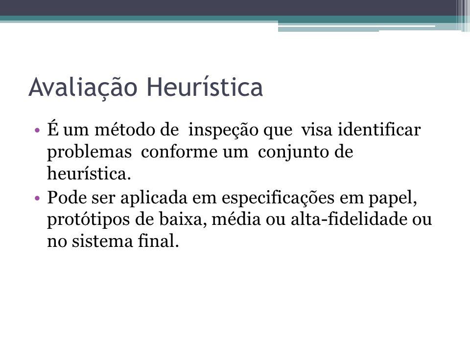 Avaliação HeurísticaÉ um método de inspeção que visa identificar problemas conforme um conjunto de heurística.