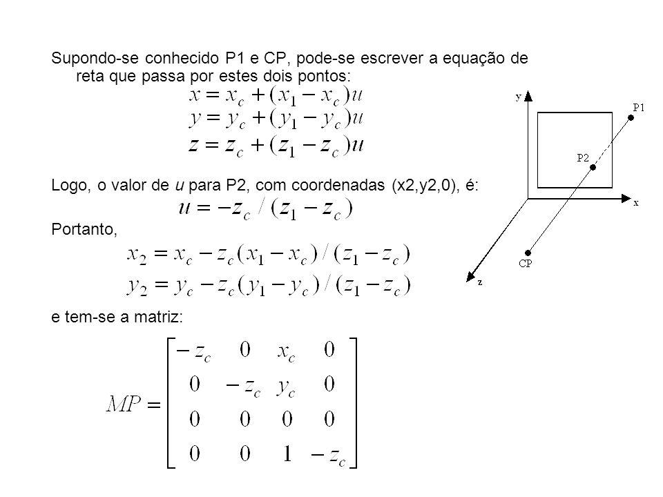Supondo-se conhecido P1 e CP, pode-se escrever a equação de reta que passa por estes dois pontos: