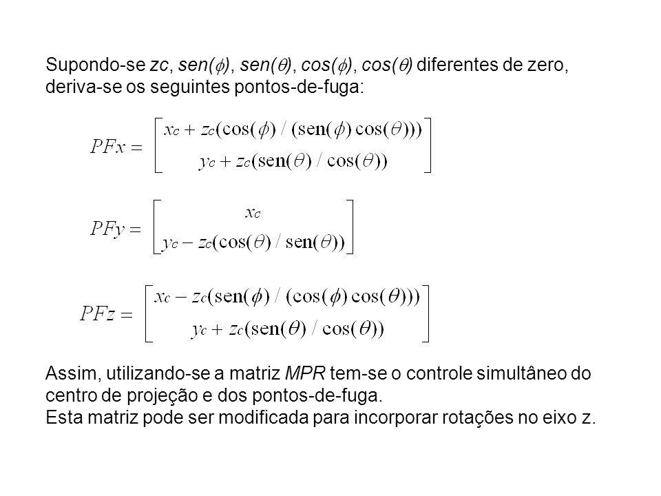 Supondo-se zc, sen(), sen(), cos(), cos() diferentes de zero, deriva-se os seguintes pontos-de-fuga: Assim, utilizando-se a matriz MPR tem-se o controle simultâneo do centro de projeção e dos pontos-de-fuga.