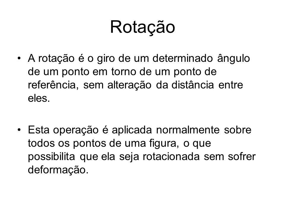 Rotação A rotação é o giro de um determinado ângulo de um ponto em torno de um ponto de referência, sem alteração da distância entre eles.