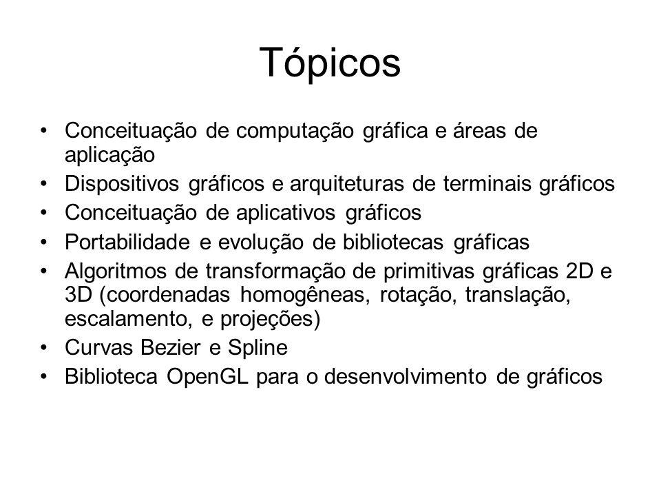 Tópicos Conceituação de computação gráfica e áreas de aplicação