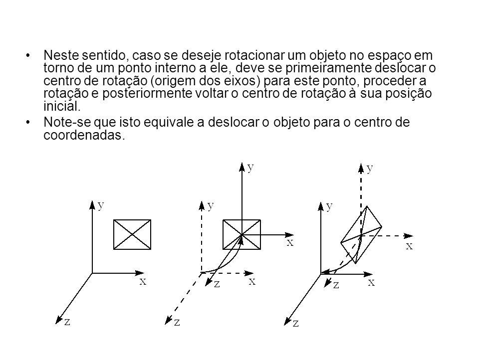 Neste sentido, caso se deseje rotacionar um objeto no espaço em torno de um ponto interno a ele, deve se primeiramente deslocar o centro de rotação (origem dos eixos) para este ponto, proceder a rotação e posteriormente voltar o centro de rotação à sua posição inicial.