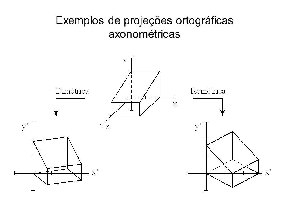 Exemplos de projeções ortográficas axonométricas