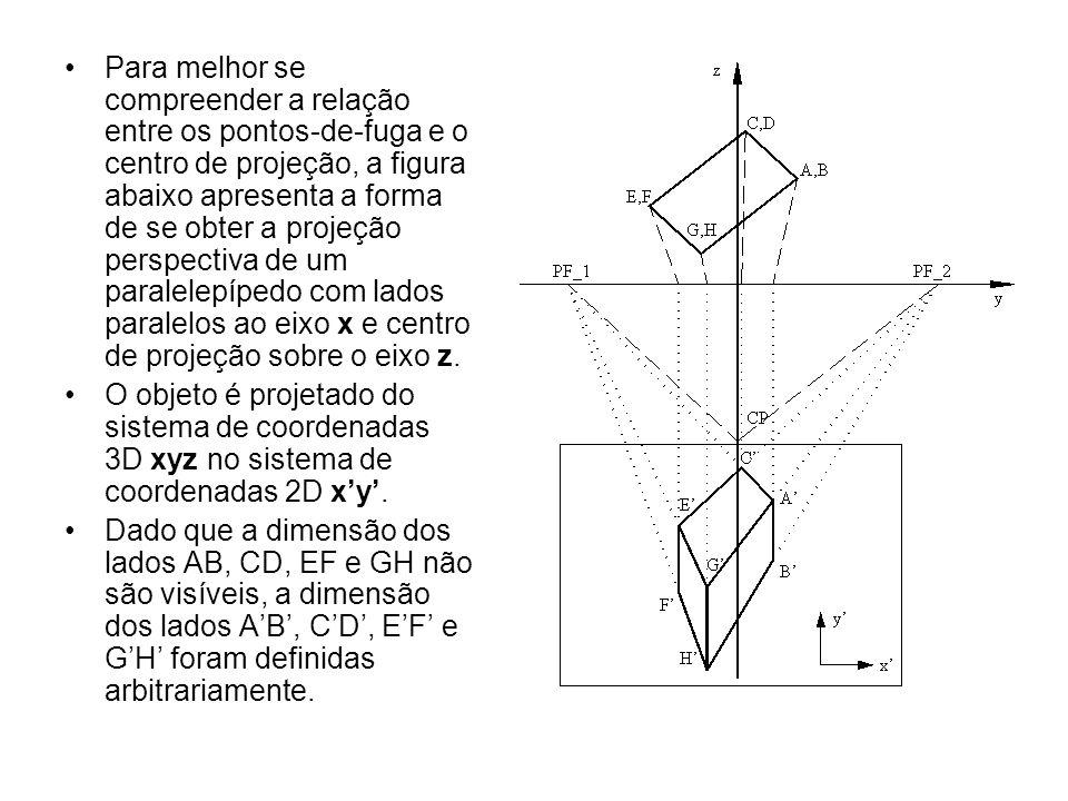Para melhor se compreender a relação entre os pontos-de-fuga e o centro de projeção, a figura abaixo apresenta a forma de se obter a projeção perspectiva de um paralelepípedo com lados paralelos ao eixo x e centro de projeção sobre o eixo z.