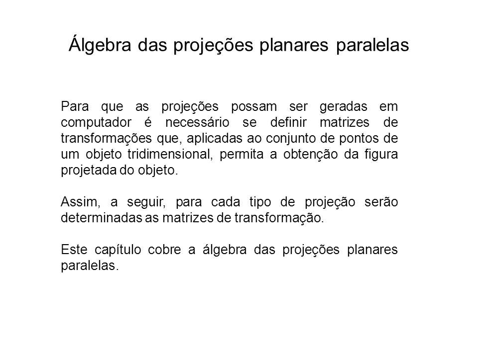 Álgebra das projeções planares paralelas