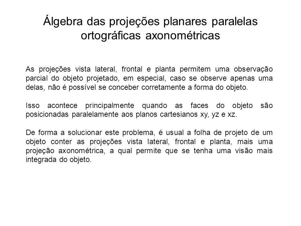 Álgebra das projeções planares paralelas ortográficas axonométricas