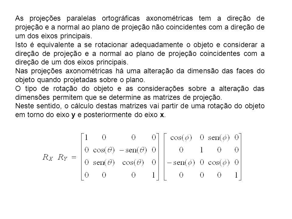 As projeções paralelas ortográficas axonométricas tem a direção de projeção e a normal ao plano de projeção não coincidentes com a direção de um dos eixos principais.