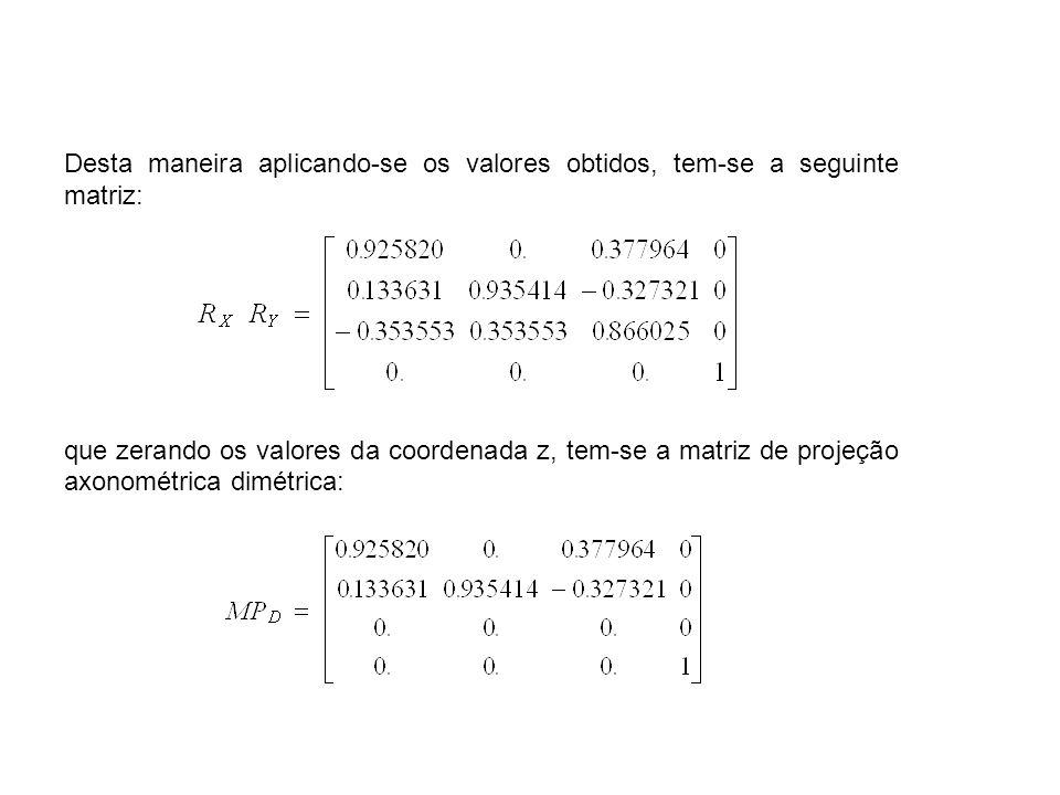 Desta maneira aplicando-se os valores obtidos, tem-se a seguinte matriz: