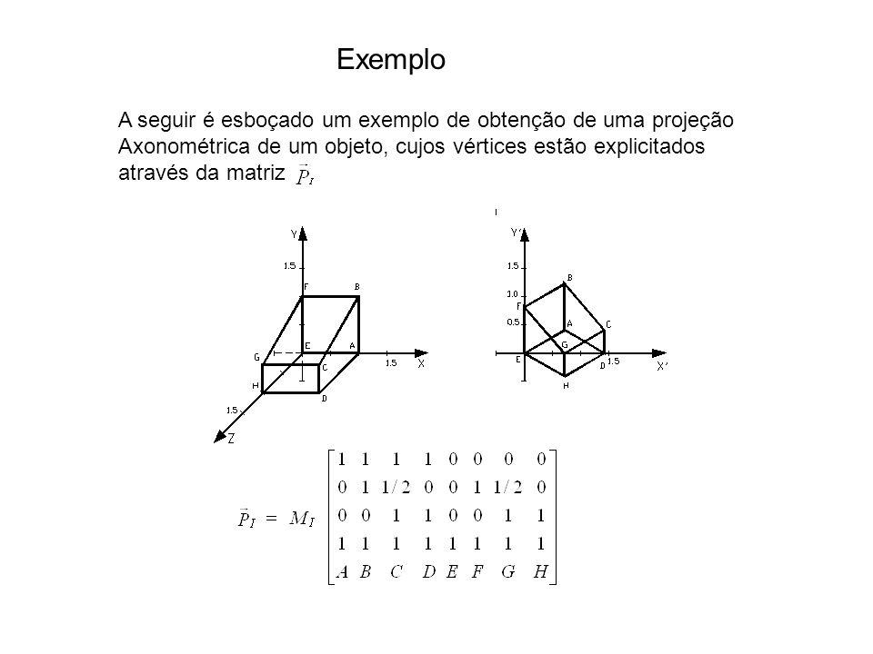 Exemplo A seguir é esboçado um exemplo de obtenção de uma projeção