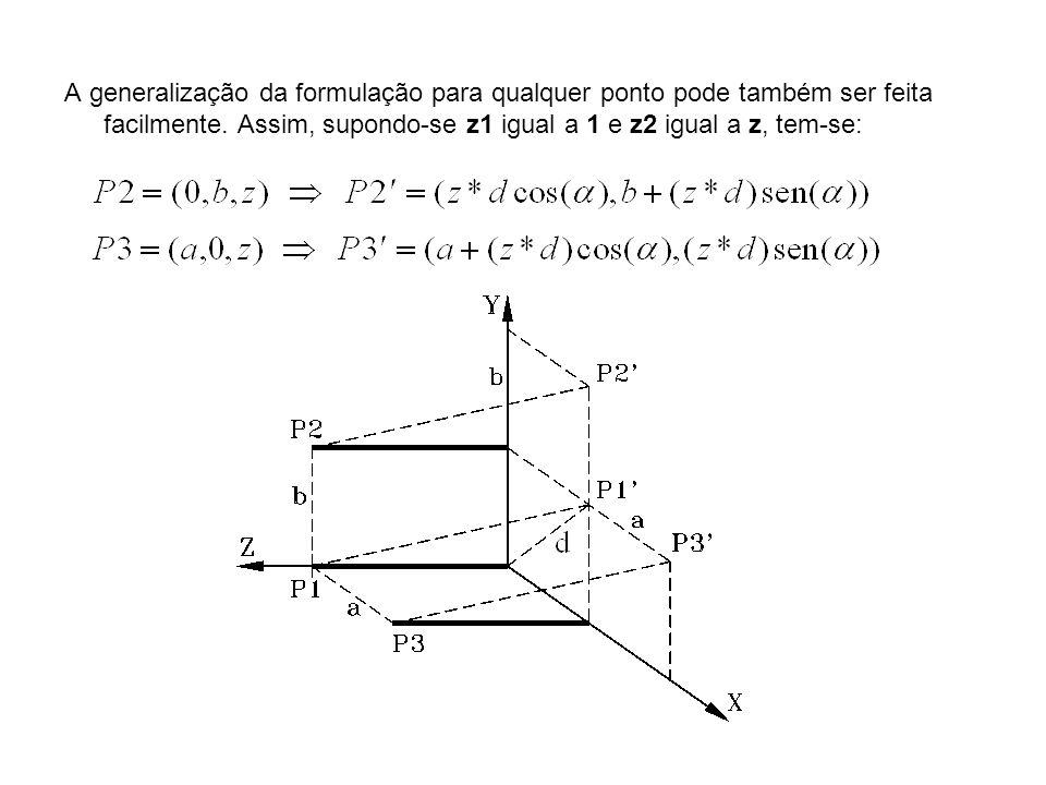 A generalização da formulação para qualquer ponto pode também ser feita facilmente.