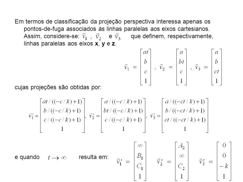 Em termos de classificação da projeção perspectiva interessa apenas os pontos-de-fuga associados às linhas paralelas aos eixos cartesianos. Assim, considere-se: , e que definem, respectivamente, linhas paralelas aos eixos x, y e z.