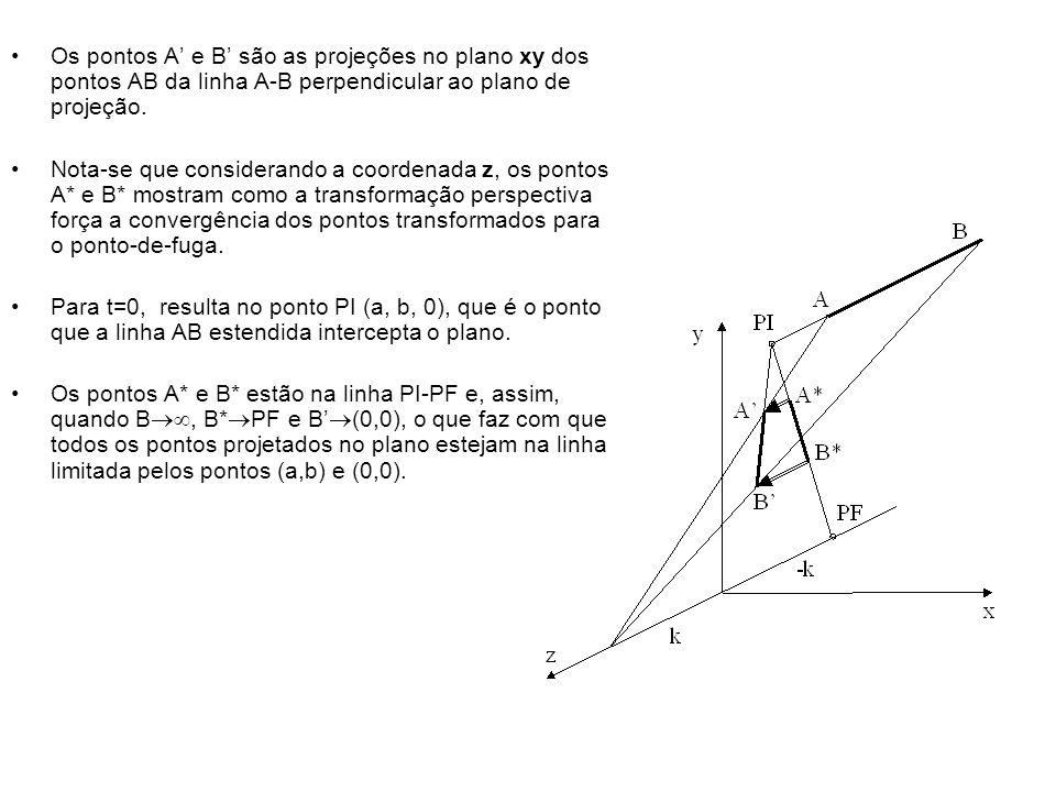 Os pontos A' e B' são as projeções no plano xy dos pontos AB da linha A-B perpendicular ao plano de projeção.