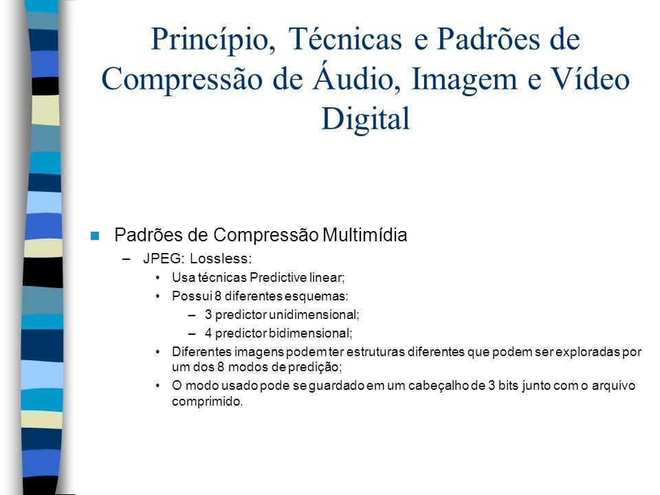 Princípio, Técnicas e Padrões de Compressão de Áudio, Imagem e Vídeo Digital