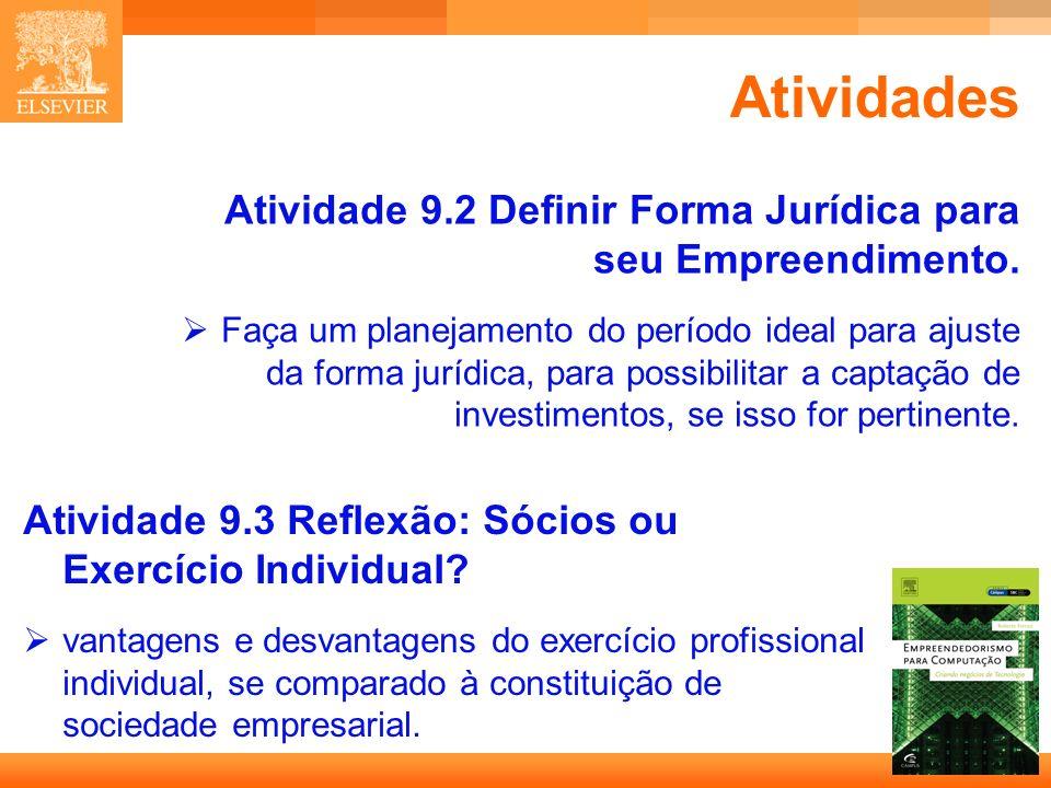 Atividades Atividade 9.2 Definir Forma Jurídica para seu Empreendimento.