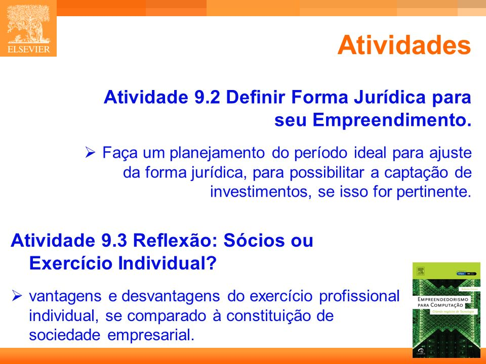 AtividadesAtividade 9.2 Definir Forma Jurídica para seu Empreendimento.